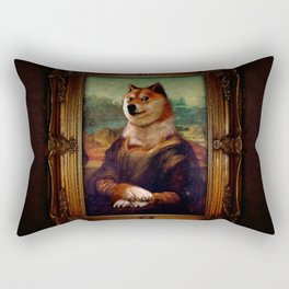 Doge Mona Lisa Fine Art Shibe Meme Painting Rectangular Pillow