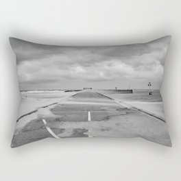 A wind on the pier - Scheveningen The Hague photo | Black and white monochrome beach nature windy storm clouds photography art print Rectangular Pillow