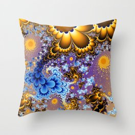 Floral Bouquet Fractal Throw Pillow