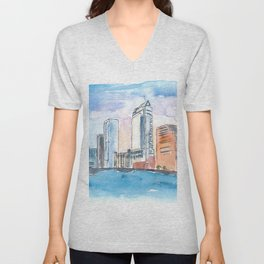 Austin Texas Skyline During Sunset Unisex V-Neck