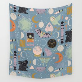 Lunar Pattern: Blue Moon Wall Tapestry