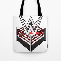 wwe Tote Bags featuring WWE Ring Logo by CmOrigins