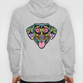 Doberman with Floppy Ears - Day of the Dead Sugar Skull Dog Hoody
