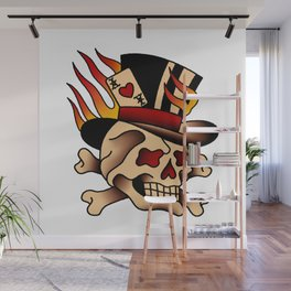 Fiery Top Hat Skull Wall Mural