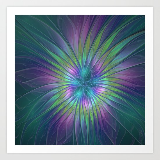 Colorful and luminous Fantasy Flower, Abstract Fractal Art Art Print