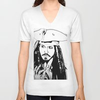 jack sparrow V-neck T-shirts featuring Captain Jack Sparrow by Evanne Deatherage