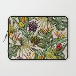 Tropical leaves and flowers Laptop Sleeve