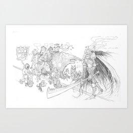 Monkey parade Art Print
