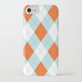Aqua, Mint and Coral Orange Argyle Pattern iPhone Case