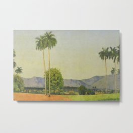 Date Palm Grove and Tropical Island Mountain Landscape with Palms by Domingo Ramos No. 2 portrait Metal Print