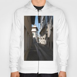 North Italy Life in the center of the lombard medieval city. Walking through narrow streets and walls. Sunny summer day. (vertical) Hoody