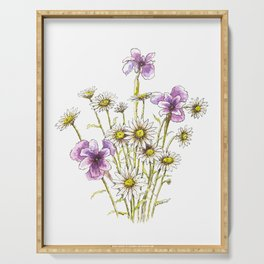 Iris and daisy flowers Serving Tray