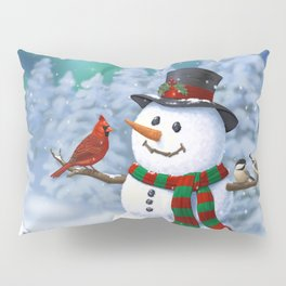 Cute Happy Christmas Snowman with Birds Pillow Sham