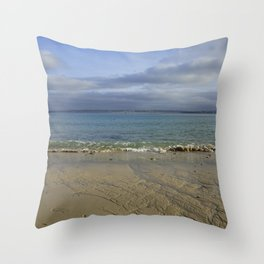Patterns in the Sand with Blue Skies Above Throw Pillow