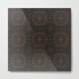 Black and Peach Chalk Geometry Metal Print