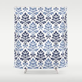 Feuille Damask Pattern Blues on Cream Shower Curtain