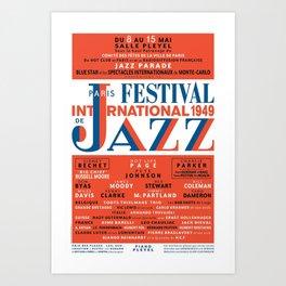 Vintage 1949 Paris International Jazz Festival Poster Art Print