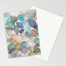 Assorted multicolored glass pebbles Stationery Cards