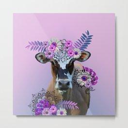 Cow Flower Artwork - Monstera Daisies Blossoms Leaves Metal Print