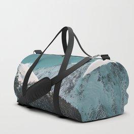Snowy Mountains Under Teal Sky - Alaska Duffle Bag