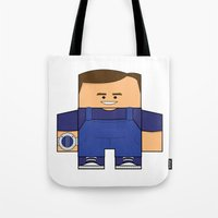 power rangers Tote Bags featuring Mighty Morphin Power Rangers - Billy (The Original Blue Ranger) by Choo Koon Designs