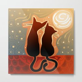 couple of cats in love on a house roof Metal Print