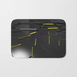 Black fractured surface with yellow glowing lines Bath Mat