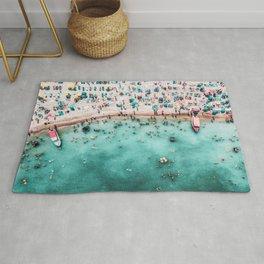 Aerial Beach Print, Large Printable Ocean Waves Wall Art, Teal Coastal Decor, Beach With People Rug