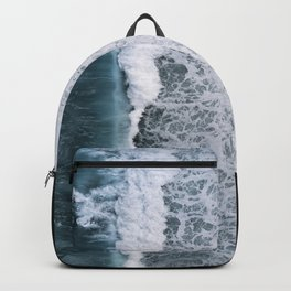 Aerial of a Black Sand Beach with Waves - Oceanscape Backpack