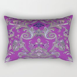 Painted Tibetan Brocade purple Rectangular Pillow