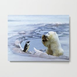 Cute Polar Bear Cub & Penguin Metal Print