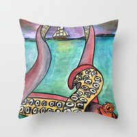 kraken Throw Pillows featuring Kraken by Indigo22