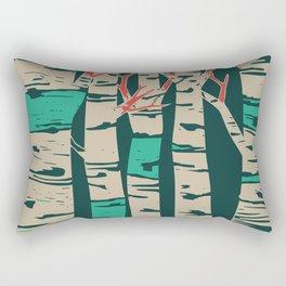 Whimsical birch forest landscape wall art Rectangular Pillow