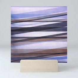 Semi Transparent Layers In Pale Blue Burgundy and Black Mini Art Print