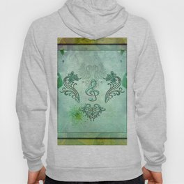 Music, decorative clef with floral elements Hoody