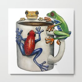 """Coffee Frogs"" - Java Jungle collection Metal Print"