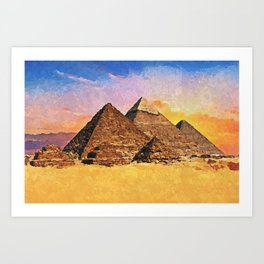 Giza pyramid complex - Acrylic & Palette Knife Paint on Canvas Art Print