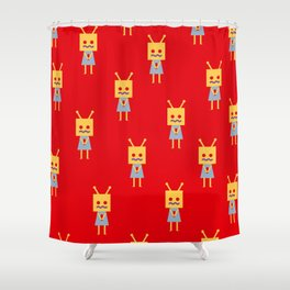 Shy Little Robot (red) Shower Curtain