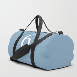 number six sign on placid blue color background Duffle Bag