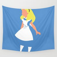 alice wonderland Wall Tapestries featuring Alice in Wonderland by Adrian Mentus