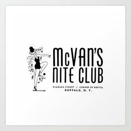 McVan's Nite Club Black Art Print