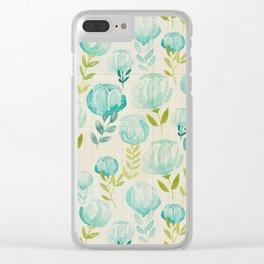 Vintage Aqua Blossoms Clear iPhone Case