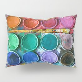 watercolor palette Digital painting Pillow Sham