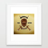 quidditch Framed Art Prints featuring Gryffindor Quidditch Team Captain by JanaProject