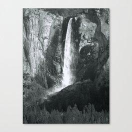 Bridalveil Falls. Yosemite California in Black and White Canvas Print