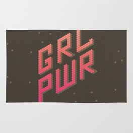 GRL PWR: Girl Power! Dark background Rug
