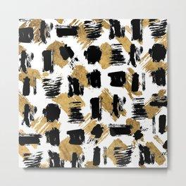 Artistic abstract black gold watercolor brushstrokes Metal Print
