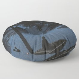 Boat with Lantern Beneath Shubi Pine Floor Pillow