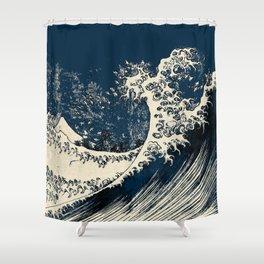 Japanese Waves Blue Shower Curtain