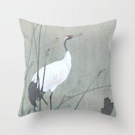 Crane Standing in the Swamp Water - Vintage Japanese Woodblock Print Art Throw Pillow